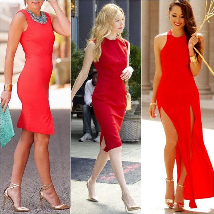 złote szpilki do czerwonej sukienki