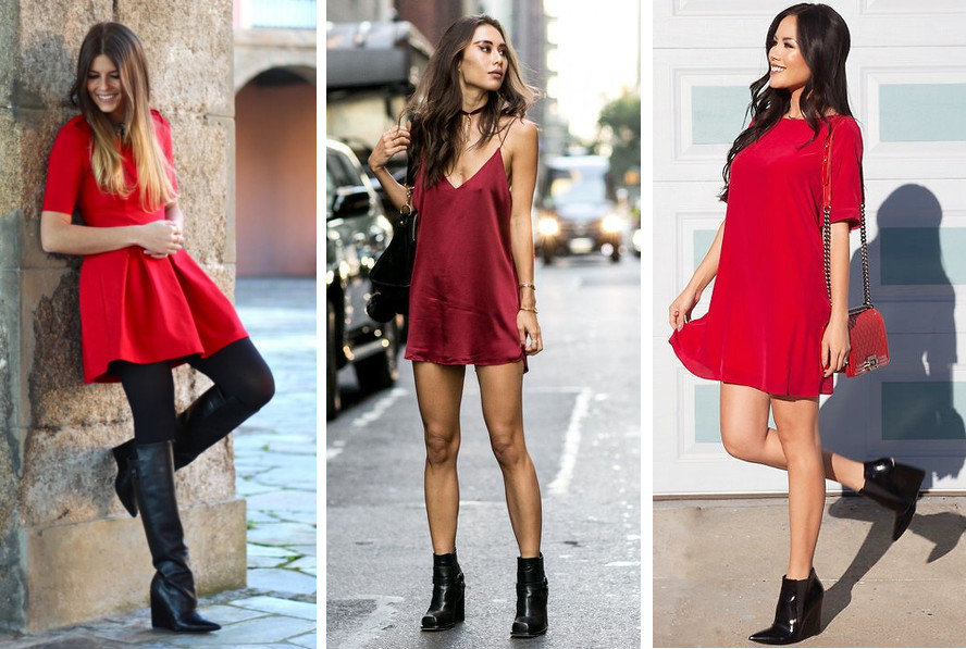 czarne botki na koturnie do czerwonej sukienki