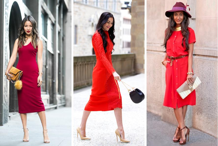 beżowe szpilki do czerwonej sukienki