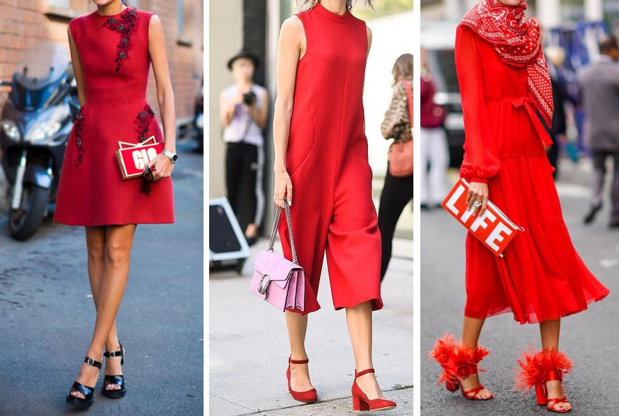 buty do czerwonej sukienki, czarne sandały na słupku i czerwona sukienka, czerwone czółenka