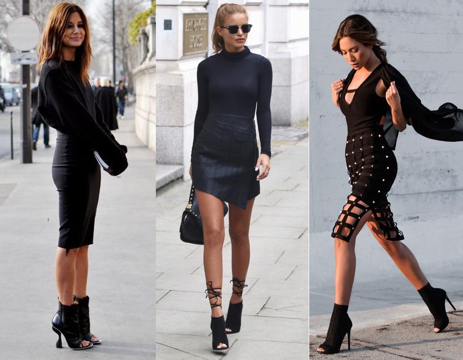 czarna sukienka i eleganckie czarne botki na szpilce bez palców