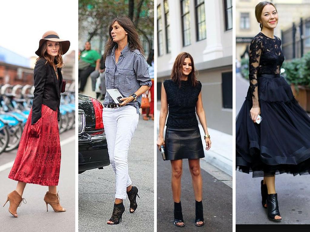 eleganckie czarne botki bez palców do sukienki czy do białych spodni, stylizacje z botkami na obcasie