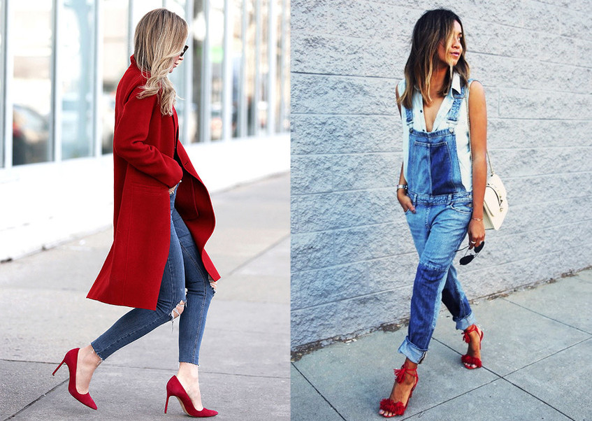 czerwone szpilki do jeansów typu mom jeans i boyfriend