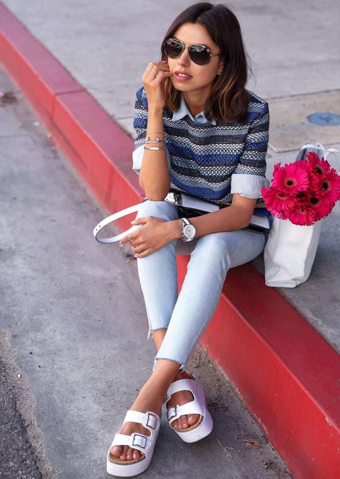 białe klapki damskie do białych spodni