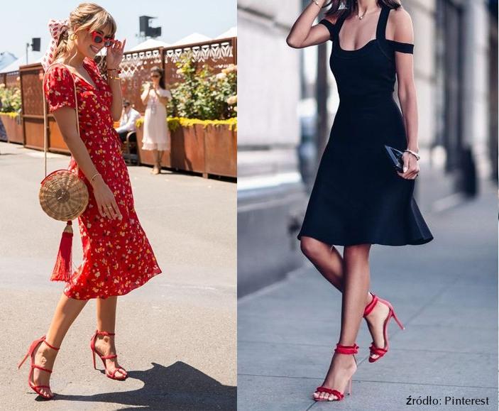 czerwone szpilki z paskiem do czarnej sukienki lub do czerwonej sukienki w kwiaty