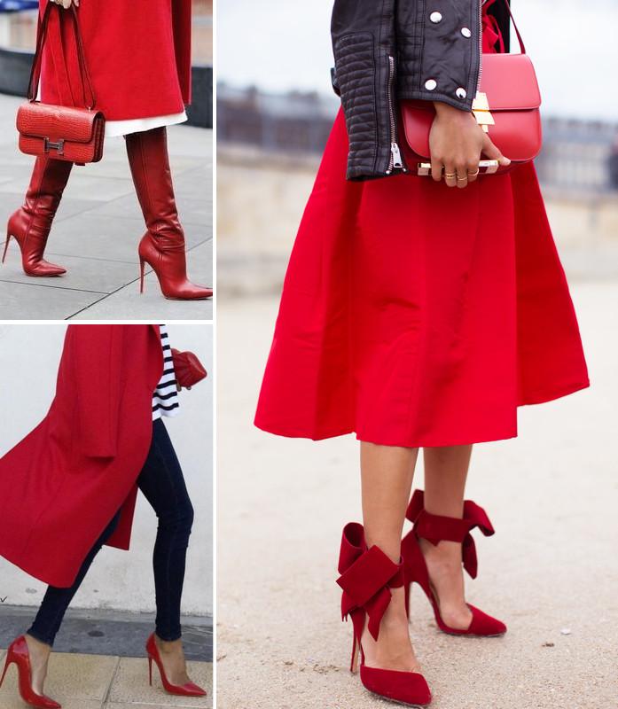 czerwone szpilki do czego założyć, tutaj stylizacje z czarnymi spodniami i z czerwoną sukienką